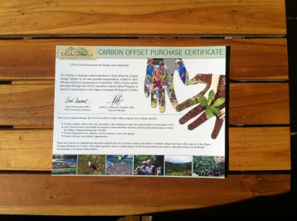 Carbon Offset Purchase Certificate der UGA Costa Rica