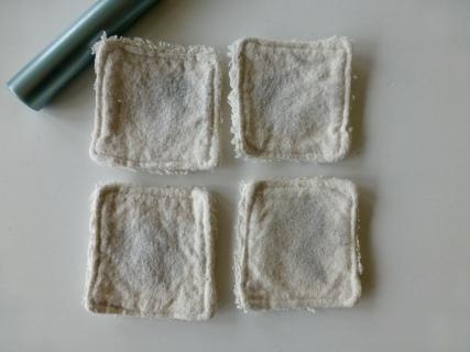 Die Mini-Pads nach dem Waschen mit 60°