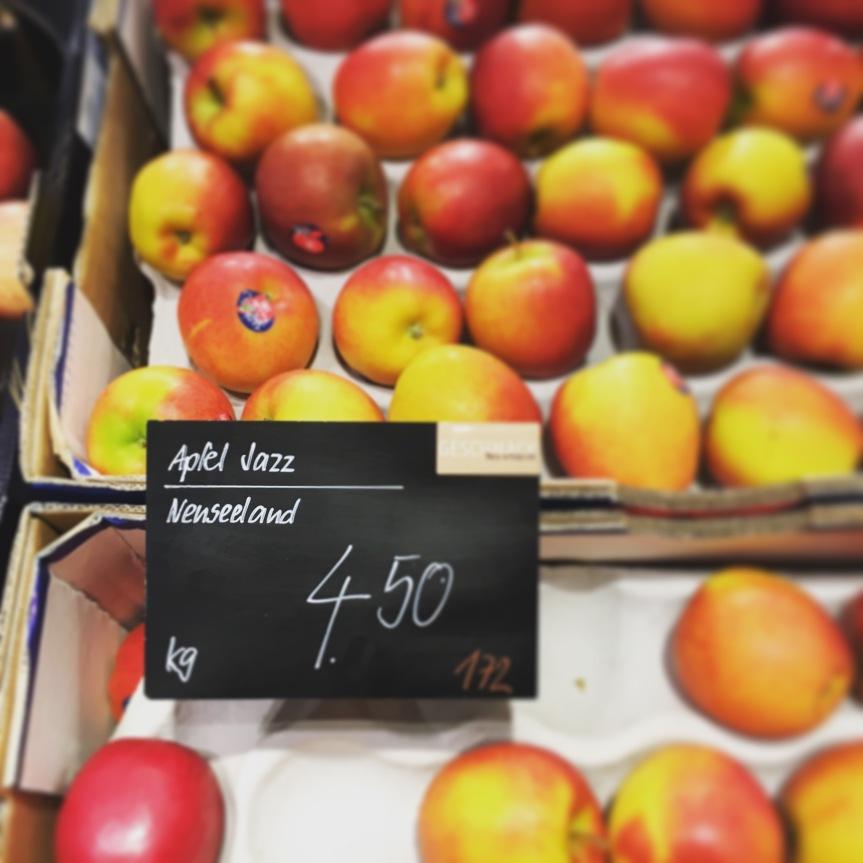 Äpfel aus Neuseeland in der Schweiz